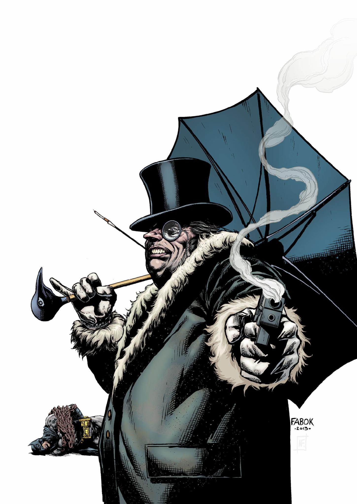 Now who the hell is this villain?He has an umbrella fetish.He is a rival against both Bruce Wayne and Batman.He doesn't know they're the same person though.
