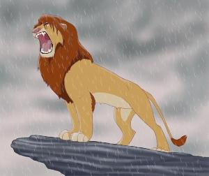 What did you do when Simba won and was roaring to  say he was king?
