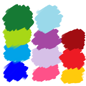 look at the picture. which of these colors also happens to be the closest to the main color of your favourite OC? (choose one that you designed, not somebody else's)