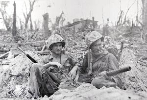 At the battle of Peleliu, what did the American soldiers use as weapons?