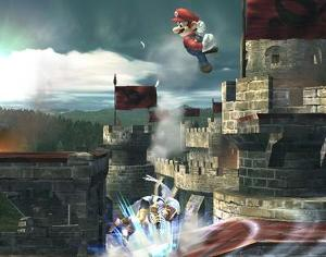 In Super Smash Bros. (64), which of Mario's attacks can meteor smash the opponent?