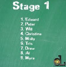 Myra and Edward are cut at the end of Stage 1. Myra because she was bottom of transfers, and she couldn't bear being without Edward; Edward because Peter took his eye out, completely out of jealousy. Edward had to drop out to go to hospital.