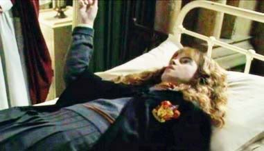 What was cancelled when Hermione was petrified in the film?