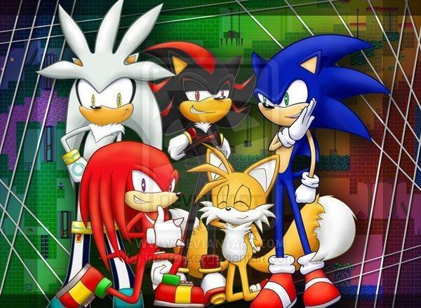 As the shadowy figures approach you, you start to back away. As you do this, your back hits something solid, which you realize is a wall. The shadowy figures are closer, and you turn your head, waiting for something to happen. But nothing does. You turn your head to see Sonic, Tails, Knuckles, Silver, and Shadow.
