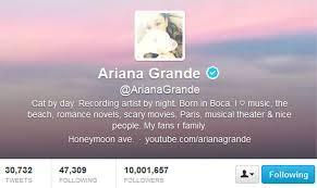 When did Ariana Reach 10M followers on twitter