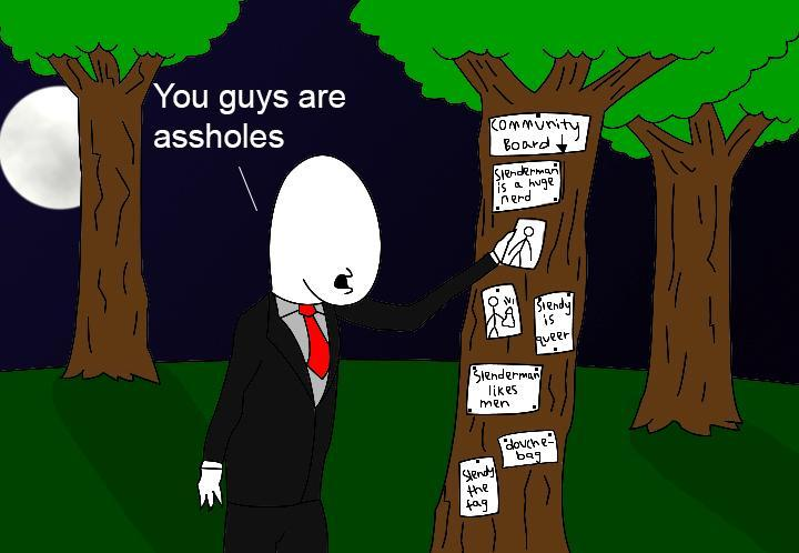 Me:*sits down in the floor* Join us. Offenderman: *smiles* join us dear... Slenderman: No, she's a guest, not a victim.
