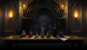 When Harry, Ron and Hermione go through the trapdoor. Harry and Hermione are at potions part, which bottle gets you through to the stone?