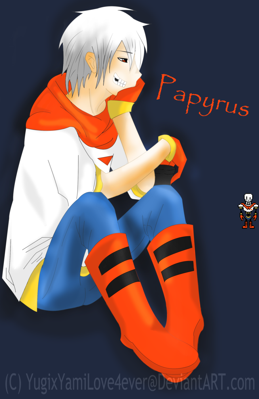 Next qu-  Papyrus: Hello human! What are you doing? Me:Papy! What are you doing here?! Papyrus: I, THE GREAT PAPYRUS, wants to know what are you doing. Me: Im hosting a show about which golden brother are you. Papyrus: WOWIE! Can I ask a question?  Me: Ask away... Papyrus: Do you like the, THE GREAT PAPYRUS!!!