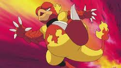 The magmar uses flamethrower