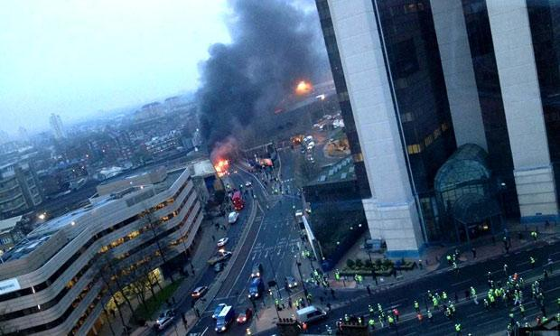 A helocopter crashed in london today what did it crash into?