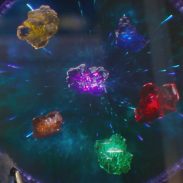 "Which Infinity Stone is contained in the ""Glow-stick of Destiny""?"