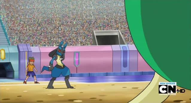 Since the humans have stopped staring at you you've noticed that a PokemonTrainor has come to try and catch you. He throws a poke ball and releashes a Pokemon called Lucario, what must you do?