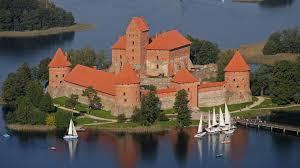 When was the construction of the Trakai Island Castle began?