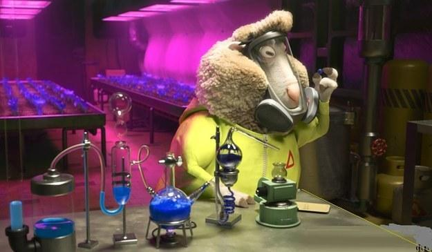 What is the name of the sheep chemist who works for the film's villain?