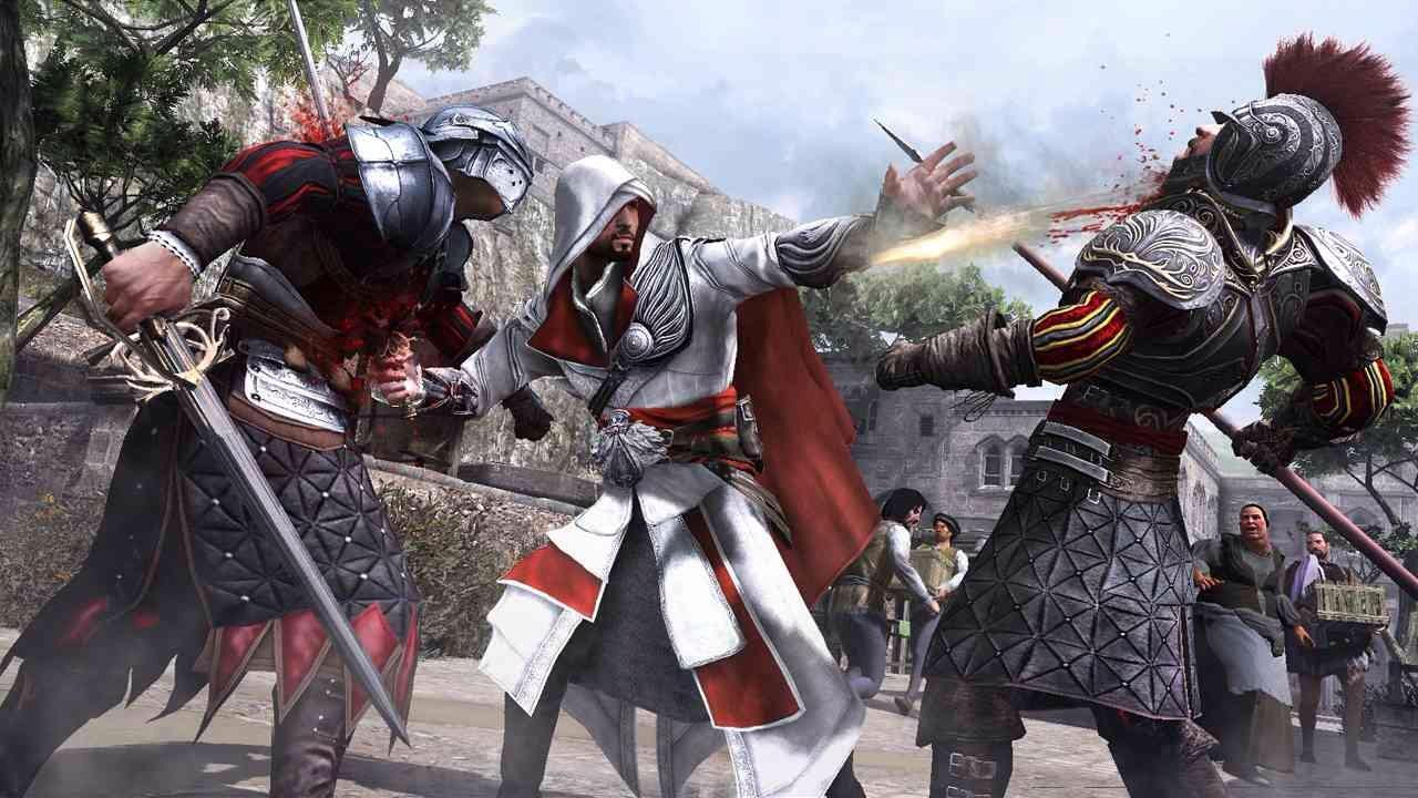 Which new weapon can Ezio buy in Assassin' Creed Brotherhood?