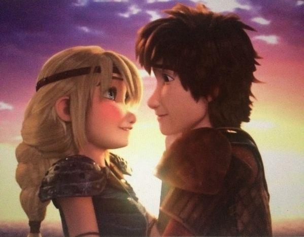 How many times did Astrid kiss hiccup in the first movie?