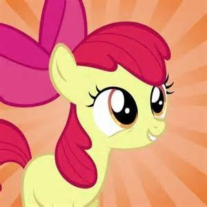 The filly as described in the last Question appears to be talking to you. She is Apple Bloom!  Apple Bloom : *bounces up and down* Howdy Ho! Wassup? I'm Apple Bloom!
