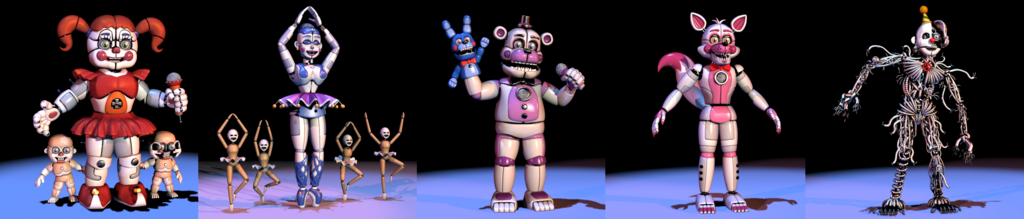 How many animatronics are in sister location?(main characters)