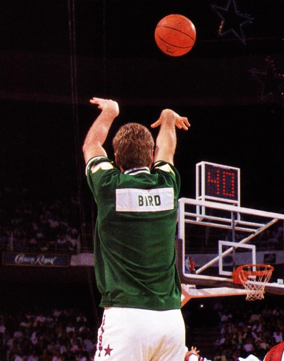 In which cities did Larry Bird win his three 3-point contests?