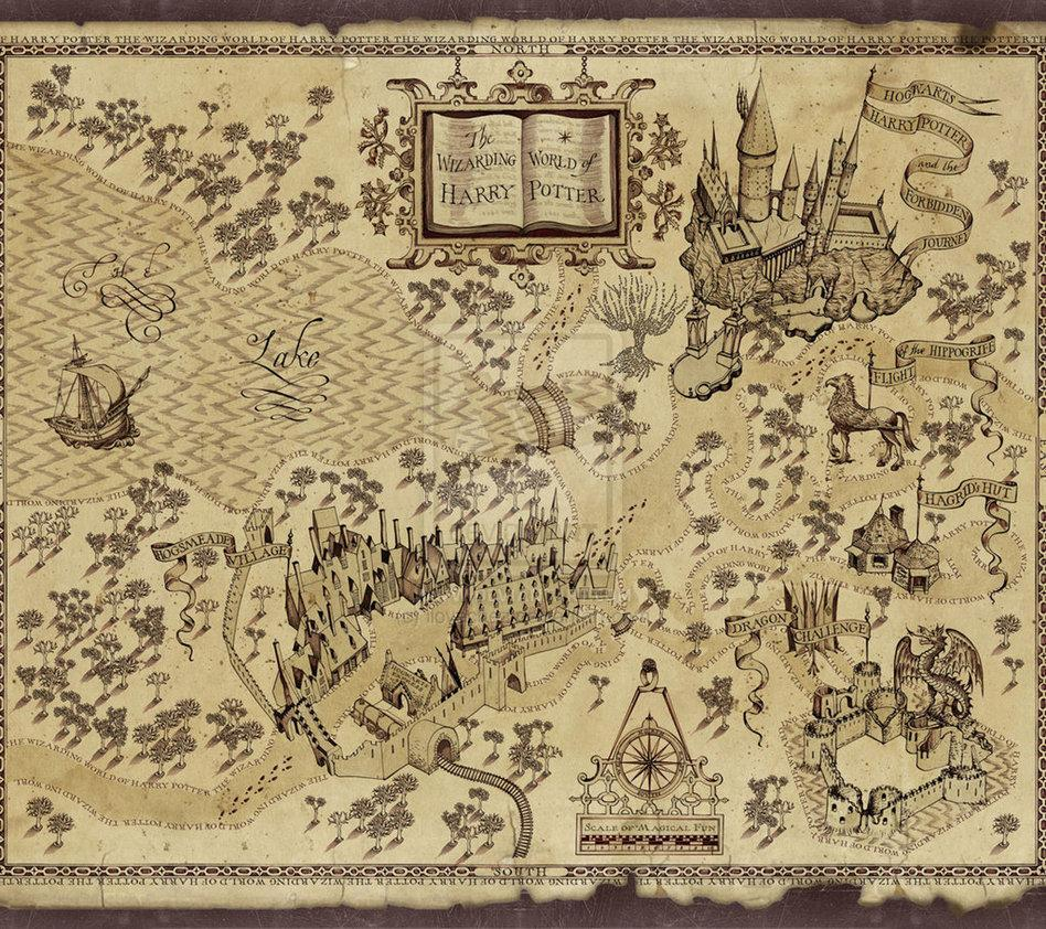 What are the words scrolling across the top of the Marauders Map when George showed the map to Harry?