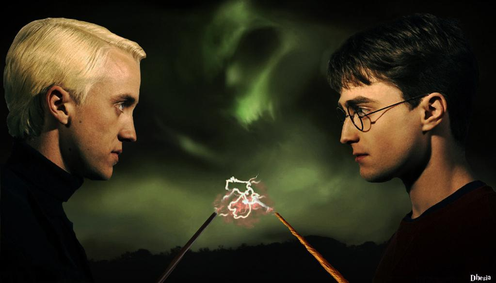 What advice does Ron give Harry about dueling with Malfoy in book/movie 1?