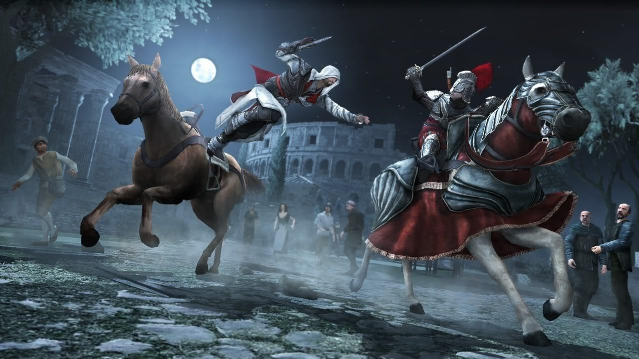 When Ezio saves Pietro at the Colosseum, what does he demand as payment?