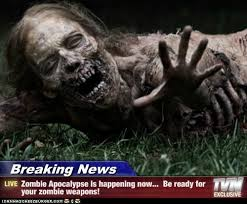 You're watching TV and all of a sudden, the program interrupts with a breaking news story about how a zombie apocalypse is spreading to where you live. What do you do at first?