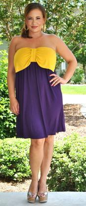Bow's Before Bro's Dress - Purple & Gold - Perfectly Priscilla Boutique