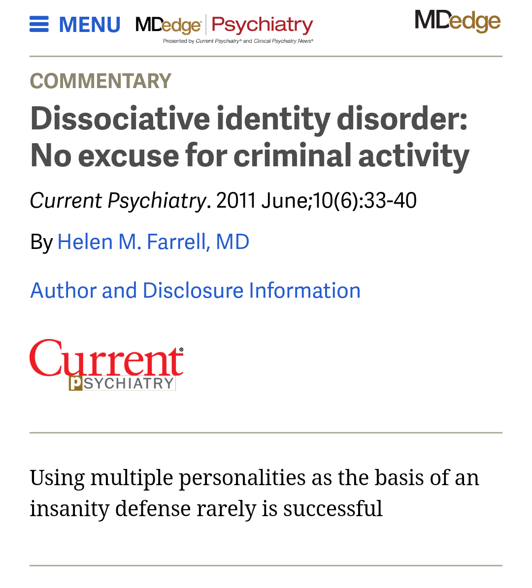 accountable for dissociation