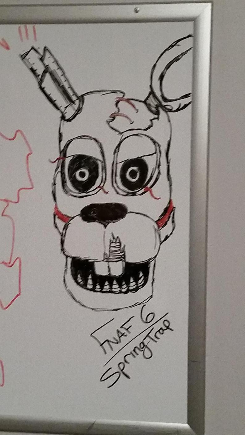 Warning Spoilers!! My whiteboard take on FNAF 6 SpringTrap...
