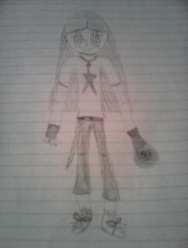 This was supposed to appear vertically, and not so blurry. Oh well...here's my character Aria.