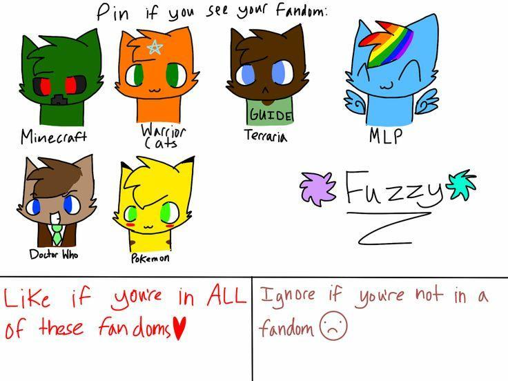 Minecraft, Warrior Cats, MLP, Doctor Who and Pokemon
